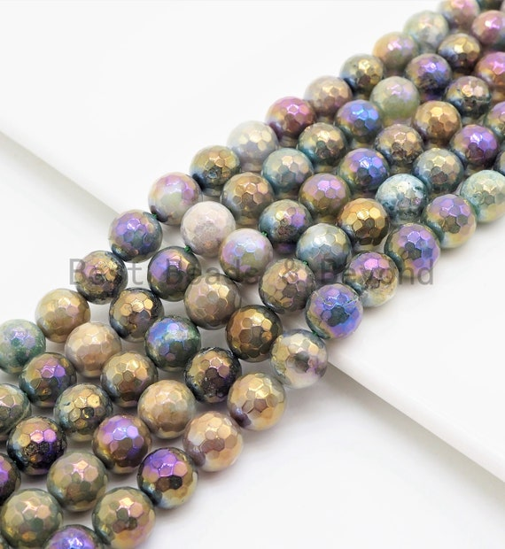 """Etsy Exclusive Mystic Plated Faceted Indian Agate Beads,6mm/8mm/10mm/12mm, Rainbow Moss Agate Beads,15.5"""" Full Strand, SKU#U426"""