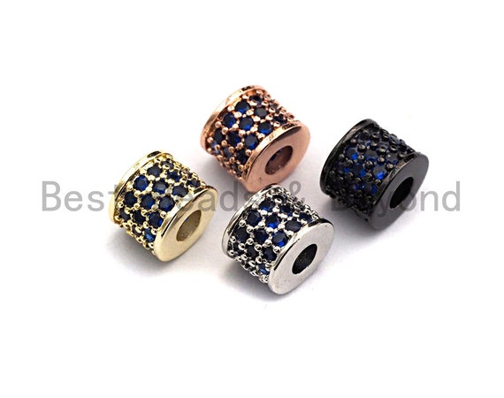 CZ Big Hole Drum Barrel Cobalt Micro Pave Beads, Gold/Rose Gold/Silver/Black Cubic Zirconia Spacer Beads, DIY Jewelry, 6x7mm, sku#X45
