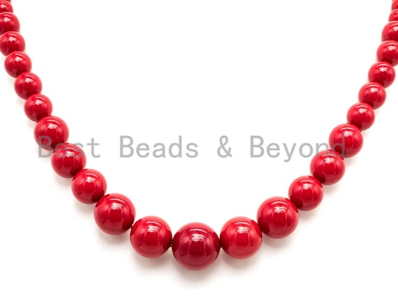 15 Inches Strand High Quality Natural MOP beads, 8-16mm Graduated Pearl Strand, Vintage Red Color Plated, Pearl Shell Beads, SKU#U48