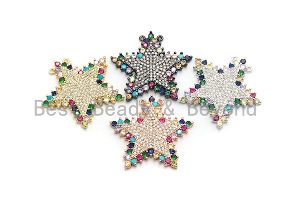PRE-SELLING  Colorful CZ Clear Micro Pave Star Pendant,Five Star Shaped Pave Pendant,Gold/Rose Gold/Silver/Gunmetal plated,29x31mm, Sku#F716
