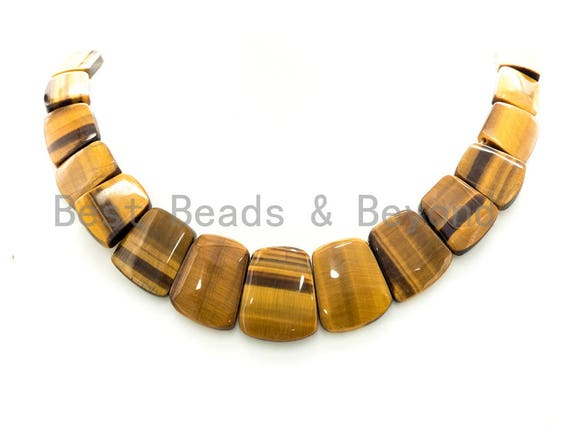 High Quality Natural Yellow Tiger Eye Graduated 17-35mm Trapezoid Beads Strand, Natural Gemstone Beads, 1 strand