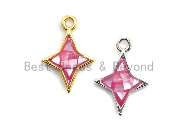 100% Natural Pink Color Shell North Star Charm, Fuchsia Pink Shell Star, Pink Shell Charm, Natural Shell Charm 10x14mm,SKU#Z345