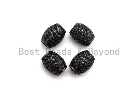 Micro Pave Black CZ Pave On Black Big/Large Hole Oval Drum Spacer Beads, Bracelet/Necklace Spacer, Cubic Zirconia Beads, 10x12mm, sku#C91