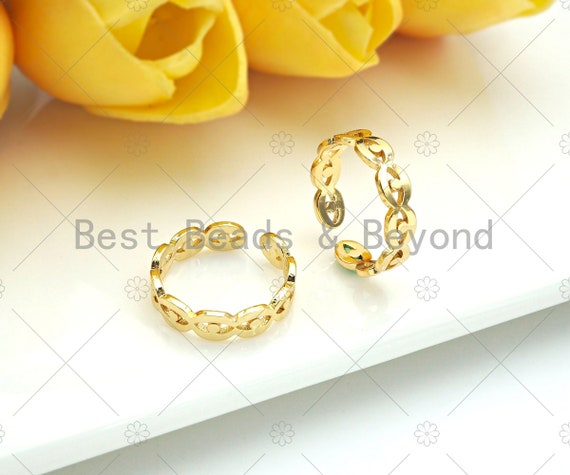 Gold Filled Evil Eye Adjustable Ring, 18K Gold Filled Open Ring, Evil Eye Ring, Link RIng, 20mm, Sku#X202