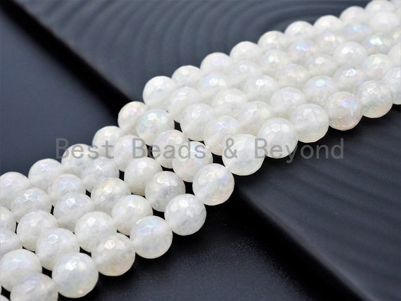Mystic Coated Natural Faceted White Jade beads, 6mm/8mm/10mm Natural White Gemstone beads, Natural Jade Beads, 15.5inch strand, SKU#U262