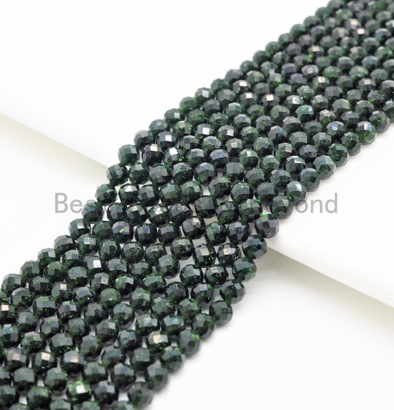 2mm/3mm/4mm High Quality Green Goldstone Round Faceted Beads, Sparkly Olive Green Gemstone Beads, 15inch full strand, SKU#U366