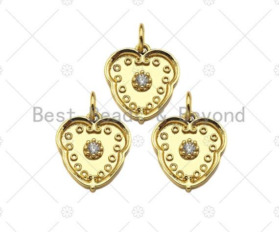 Gold Filled Flower on Heart Shape Pendant, Micro Pave CZ 18K Gold Filled Charm, Necklace Bracelet Charm Pendant,13x15mm,Sku#Z1354