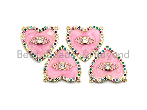 CZ Colorful Micro Pave Enamel Heart With Evil Eye Pendant, Pink Heart ,Heart Shaped Pave Pendant, Gold plated, 26x27mm, Sku#F852