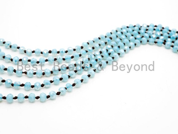 "60""/36"" EXTRA Long Hand Knotted Mint Color Crystal Necklace, Double Wrap Necklace, Mint 2x4mm/5x8mm Rondelle Faceted Crystal Beads,SKU#D24"
