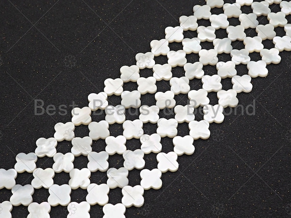 High Quality White Mother of Pearl Smooth Beads, Mop Shell, Clover Quatrefoil Shell Beads,14mm/18mm, 15.5'' Full Strand,SKU#T155