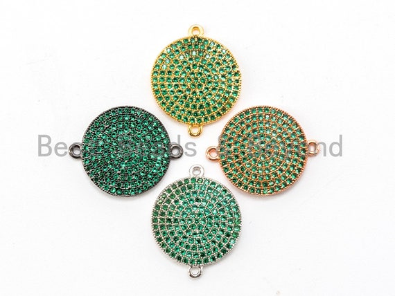 CZ Micro Pave Green Round Disc Connector, Cubic Zirconia Space Connector, Pave Charm, 16x20mm, 1pc,SKU#A44