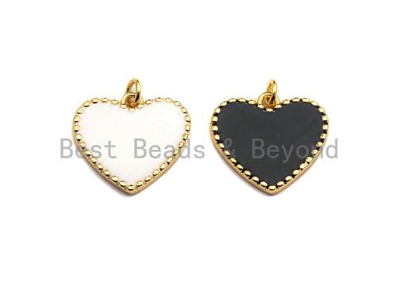 PRE-SELLING Black White Enamel Heart Pendant with Gold Finish, Black Enamel Heart, White Enamel Heart, Heart charm,19x18mm sku#Z403