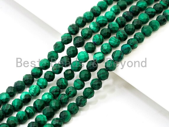 "2mm 3mm 4mm Natural Faceted Malachite Round Beads, Green Gemstones Beads,Natural Malachite Beads,15.5"" Full Strand,SKU#U105"