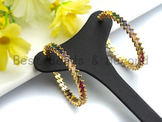 Colorful CZ Micro Pave Rainbow Large Hoop Earring, Gold Hoops earrings, Stud Earrings, Minimal earrings,4x40mm,sku#J127