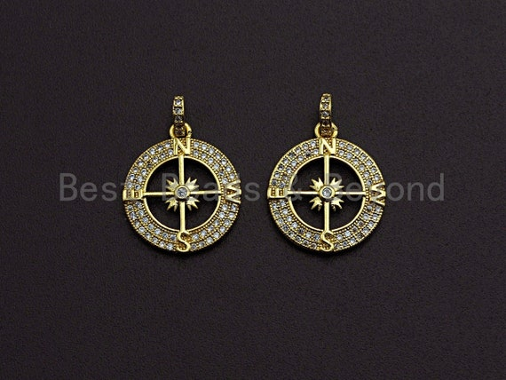 Clear CZ Micro Pave Hollow out Compass Pendant/Charm,Round Compass Cubic Zirconia Pendant,24K Gold Tone,17x20mm,Sku#Z458