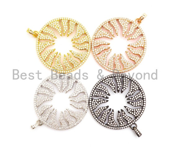 CZ Micro Pave Hollow out Floral Flower Flame Pendant/Charm, Cubic Zirconia Pendant Charm,35x38mm,sku#F495