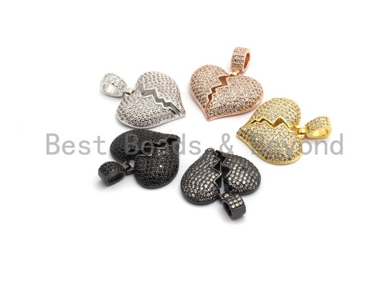 PRE-SELLING Clear Cz Micro Pave broken Heart Pendant/Charm, CZ Pave Charm in Gold/Rose Gold/Silver Finish, 21x23mm,sku#F648