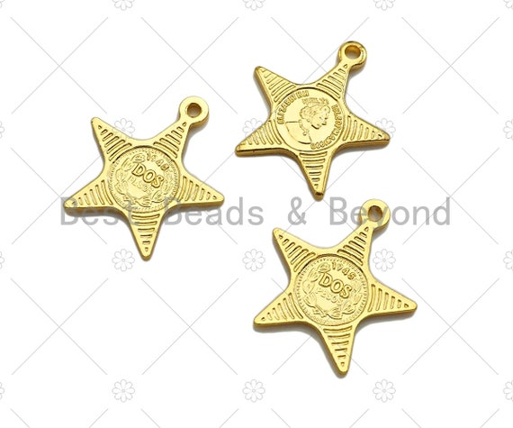 17x15mm Gold Pendant,Emblem Necklace Charms 18k Dainty Gold Embossed Queen Elizabeth Coin Charms Sku#Y379 Madallion Charms