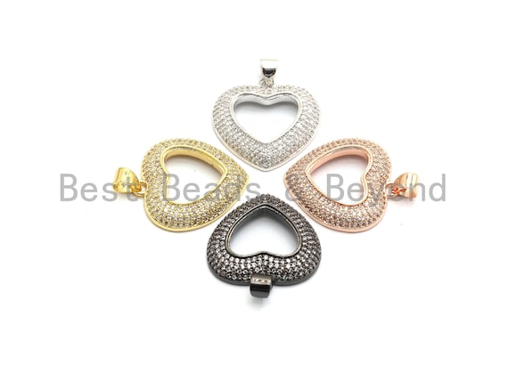 PRE-SELLING CZ Clear Micro Pave Hollow Heart Pendant, Heart Pave Pendant, Gold/Rose Gold/Silver/Gunmetal plated, 22.5x23.5mm, Sku#F691