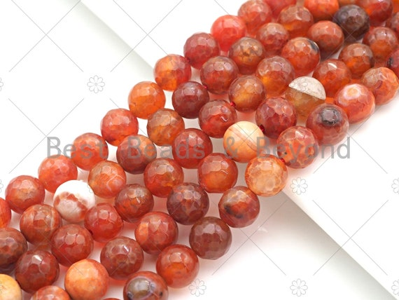 "Dark Orange Fire Agate, Round Faceted 8mm/10mm, Natural Agate Beads, 15.5""Full Strand, sku#UA141"