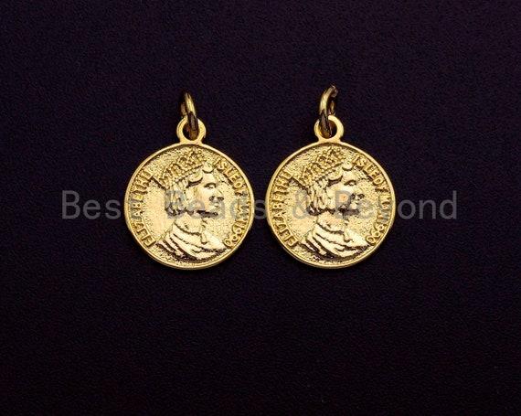Medallion Elizabeth Queen Coin Pendant, Round Coin Pendant,  Gold Coin Pendant,13x16 mm, Sku#Z728
