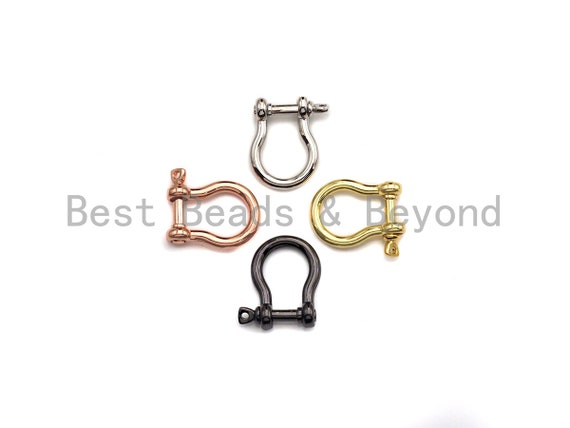 PRESELLING  U Shape Lock Clasp, CZ Pave Clasp, Silver/Black/Rose Gold/Gold Carabiner Clasp, 15x19mm, sku#H218