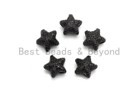 Black CZ Pave On Black Micro Pave Puffy Star Spacer Beads , Cubic Zirconia Star Spacer Beads,12mm, sku#C97