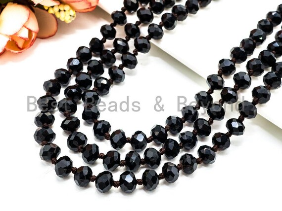 "60""/36"" Long Hand Knotted Black Color Crystal Necklace, Long Necklace, Black 5x8mm Rondelle Faceted Crystal Beads, SKU#D10"
