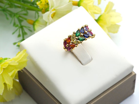 PRE-SELLING Colorful CZ Micro Pave Ring, Wheat Shape Cubic Zirconia Gold Ring, Adjustable Ring,9x22x16mm,sku#X19