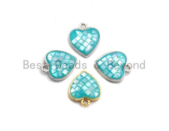 100% Natural Aqua Blue Shell Heart Shape Pendant in Gold/Silver Finish, Blue Shell heart Charm, Shell Jewelry, 10x12mm,SKU#Z314