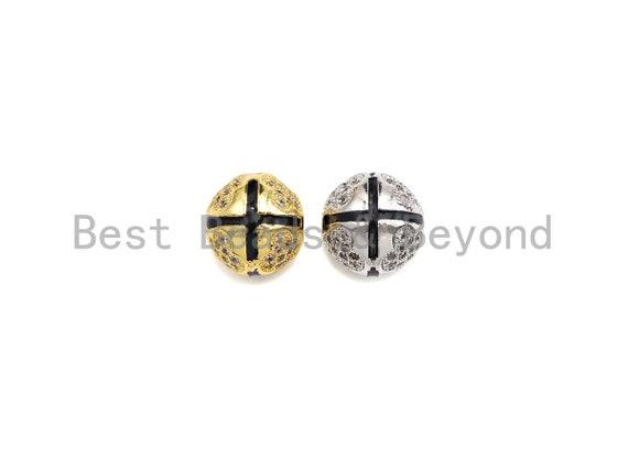 CZ Micro Pave Cross Patten Spacer Beads for Bracelet/Necklace, Men's Jewelry Bracelet Beads, 10mm, sku#Z1095