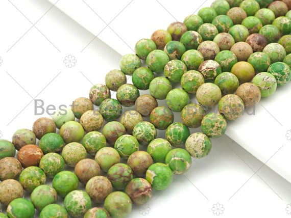 High Quality Apple Green Sea Sediment Imperial Jasper Beads, 6mm/8mm/10mm/12mm Round Smooth Imperial Japser, 15.5'' Full Strand, SKU#UA171