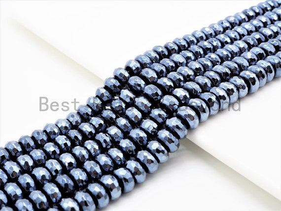 "UNIQUE Silver Plated Faceted Black Onyx Rondelle Beads,2x4/4x6/5x8mm/6x10mm Metalic Rondelle Beads,15.5"" Full Strand,SKU#S113"