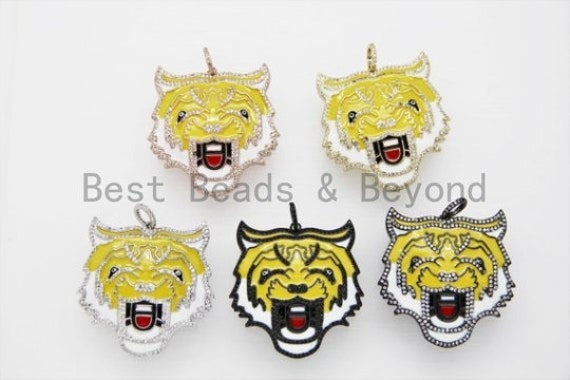 NEW Enamel Yellow Tiger Head Focal Pendant, Cubic Zirconia Pave Pendant  in gold/rose gold/silver/Gunmetal, Enamel Jewelry, 40mm,sku#F611T