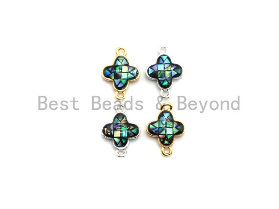 100% Natural Abalone Shell Clover Connector For earrings Necklace Bracelets making, Abalone Charm, Clover flower charm, 10x15mm,SKU#Z294