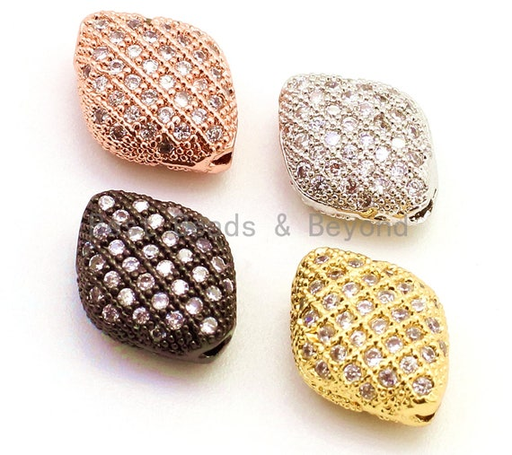 CZ Micro Pave Puffy Marquise Spacer Beads with Clear Crystal for Bracelet/Necklace,Cubic Zirconia Beads,Bracelet Charms,11x8.5x4.7mm,sku#G29