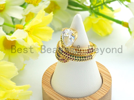 PRE-SELLING Colorful CZ Micro Pave Heart Snake Ring, Wrap Spiral Ring, Cubic Zirconia Gold Ring, Adjustable Ring, 22x21x17mm,sku#X66