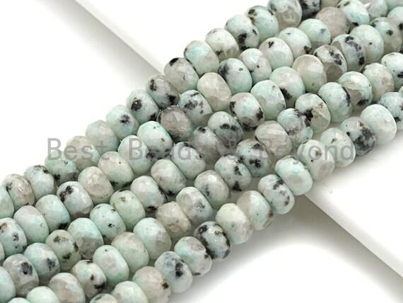 "2mm Large Hole Natural Agate Beads, Rondelle Faceted 5x8mm, 8"" Long Strands, sku#U732"