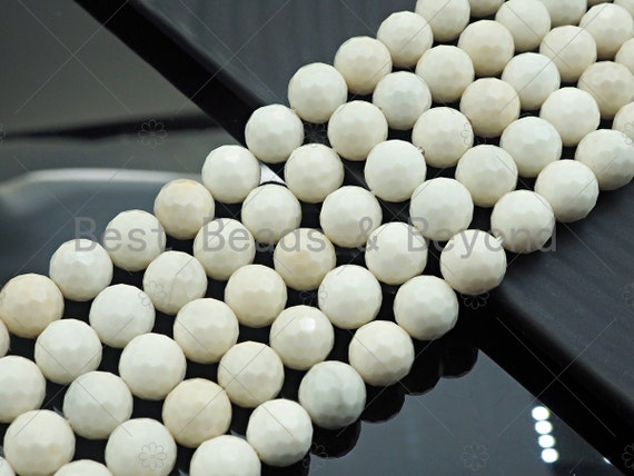 "SPECIAL CUT High Quality Natural Ivory Japser Beads, Round Faceted 6mm/8mm/10mm/12mm Ivory Jasper Beads, 15.5"" Full Strand, sku#U978"