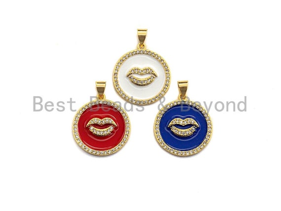 Enamel Colorful Lip On Round Coin Pendant,CZ Micro Pave Oil Drop pendant,Enamel pendant,Enamel Jewelry,20x22mm,sku#Z631