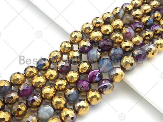 "ETSY EXCLUSIVE Half Gold Plated Mixed Color Agate Beads, 8mm/10mm Round Faceted Gold Mixed Color Beads, 15.5"" Full Strand, sku# UA136"