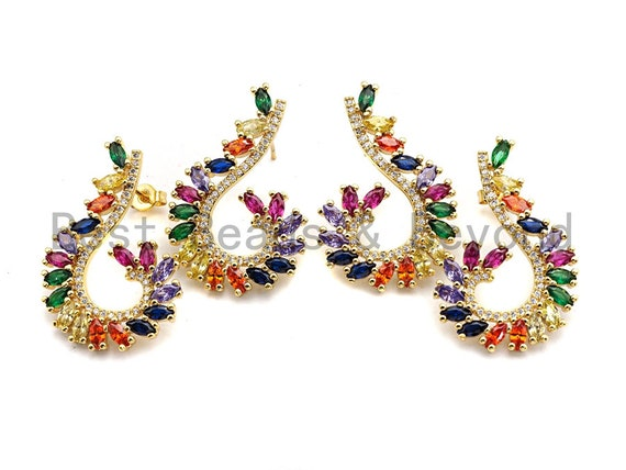 Pre-Selling Colorful CZ Micro Pave Earring, Pave Fish Hook Earrings, CZ Gold Stud Earring, 23x34mm,sku#J112