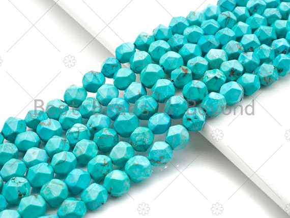 "Diamond Cut Turquoise Beads, 6mm/8mm Faceted Turquoise Dyed Howlite Beads,  15.5"" Full Strand, sku#U979"