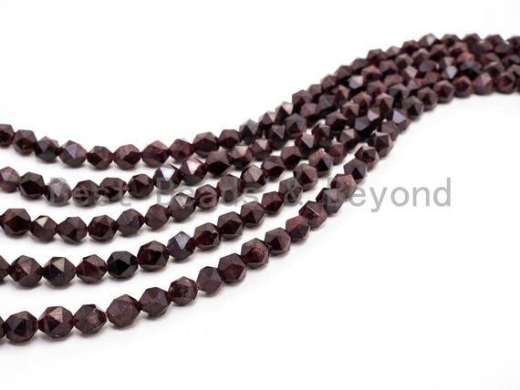 Diamond Cut Quality Natural Red Garnet beads, 6mm/8mm/10mm/12mm, Diamond Cut Faceted Round Gemstone Beads, 15.5inch strand, SKU#U130