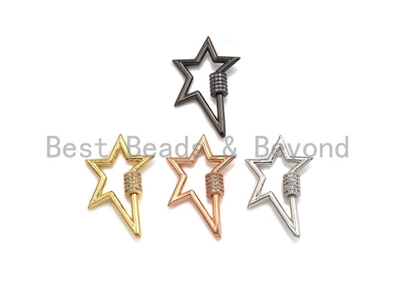 Clear Cz Micro pave Star Clasp, CZ Pave Clasp, Gold/Silver/Rose Gold/Gunmetal Carabiner Clasp, 21x32mm, sku#H187
