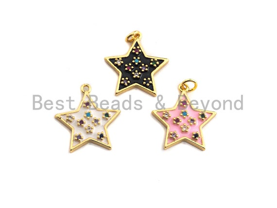 PRESELLING CZ Pave Enamel Moon on Round/Star Pendant, Star Enamel Charm Pendant, Enamel Pendant, Oil Drop jewelry Findings,20x21mm,sku#F934