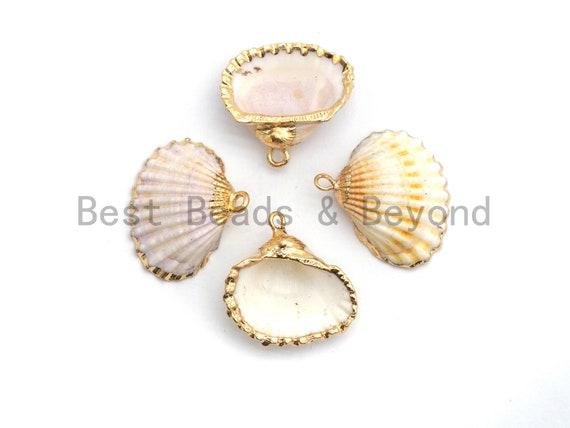 Gold Plated Natural White Scallop Shell Pendant, Sea Shells Pendant, Beach Charm, Shell Jewelry, Clam Shell Charm, 23x24mm, sku#V34