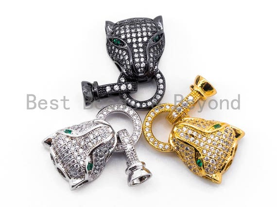 CZ Micro Pave 18K Gold Panther Leopard Head Buckle Interlocking Clasp, Green Eye Leopard Head Clasp for Jewelry Making, 30x13x7mm, sku#K54