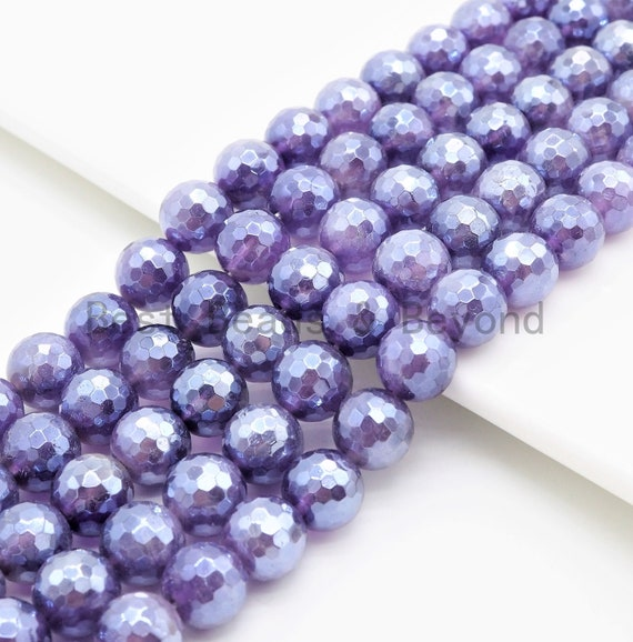Mystic Plated Amethyst Round Faceted beads, 6mm 8mm 10mm 12mm, Loose Purple Gemstone Beads, 15.5 inch strand, SKU#U362