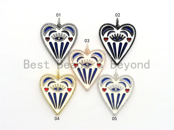 Large Enamel Colorful Heart Shape With Evil Eye Moon Heart Pendant,CZ Micro Pave Oil Drop pendant, Heart Enamel pendant,37x42mm,sku#F579